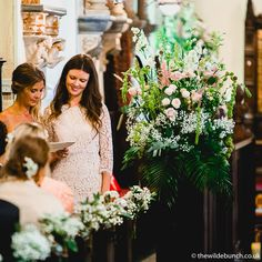 Stunning Wilde Bunch church flowers showing Gypsophila pew ends and a large statement design as the focal point for the ceremony. Church Wedding Flowers, Aisle Flowers, Pew Ends, Gypsophila, Flower Show, Google Images, Big Day, Garland, Wreaths