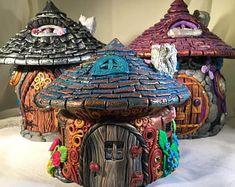 Items similar to Polymer Clay Fairy House, Fairy House light, Handmade Fairy House, Fairy House jar, Polymer Clay Fairies House on Etsy Polymer Clay Fairy, Polymer Clay Projects, Clay Fairy House, Fairy Houses, Paper Clay, Clay Art, Fairy Jars, Clay Fairies, Clay Houses