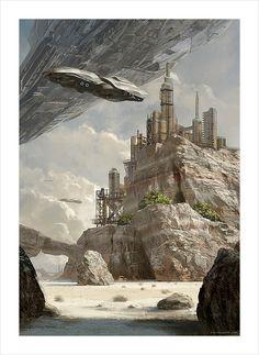 scifi art by Geoffroy Thoorens Fantasy City, Fantasy Kunst, Fantasy Landscape, Sci Fi Fantasy, Fantasy World, Arte Sci Fi, Sci Fi Art, Sci Fi Environment, Environment Design