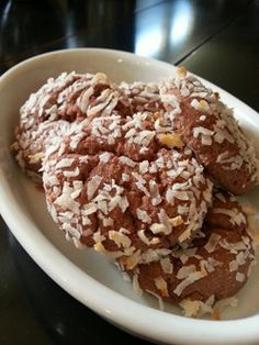 Chocolate Coconut Protein Cookies Muscle and Fitness Hers Nutrition Facts (per serving): 75 calories, 3.31g fat, 3.99g carbohydrate, 7.6g protein