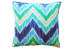 Chevron 20x20 Outdoor Pillow, Blue