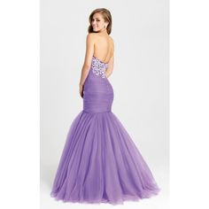 Madison James 16386 Prom Mermaid Dress Long Strapless Sleeveless ($519) ❤ liked on Polyvore featuring dresses, gowns, formal dresses, purple, prom gowns, long prom dresses, long evening dresses and mermaid prom dresses