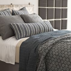 Pine Cone Hill Resist Floral Grey Kantha Coverlet @Layla Grayce