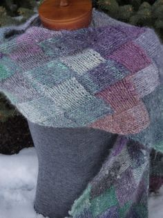 Hand Knit  Noro Entrelac Scarf Wrap Turquoise by IndigoKittyKnits, $75.00
