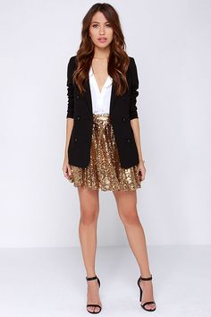 Cheers to You! Gold Sequin Skirt at Lulus.com!