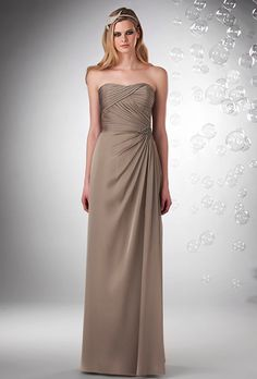 Brides: Bari Jay. Shirred strapless neckline that gathers at waist with brooch.