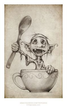 This picture is of Eric, he is a goblin and one of our best friends...don't worry about the bandages on his head, most goblins wear bandages all the time cause they bump their heads so often its easiest to just leave it on. You can read the story of why he's in a teacup on our website...here is the click: http://www.thepicsees.com/mobi/story_teacups_spoons_and_scallywags.php