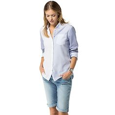 Tommy Hilfiger women's shirt. Our classic shirt in a pieced design for something a little different. Styled in soft-washed cotton and tailored for a feminine finish.<br>• Classic fit. <br>• 100% cotton. <br>• Pieced design. <br>• Machine washable. <br>• Imported. <br>