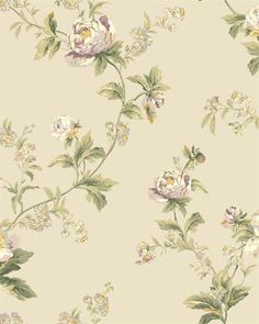 WA7756 | Waverly Classics, Taupe and Purple Forever Yours Trail Floral Wallpaper | TotalWallcovering.Com