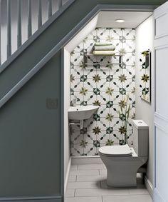 Wall Hung Toilet, Downstairs Toilet, Bathroom Design Small, Modern Bathroom, Bathroom Designs, Understairs Toilet, 1930s House Renovation, Corner Basin