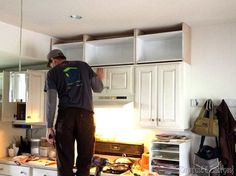 Extending kitchen cabinets to the ceiling {Sawdust & Embryos}                                                                                                                                                                                 More