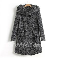$30.80 Hooded Long Sleeves Modern Style Cotton Blend Pockets Design Coat For Women