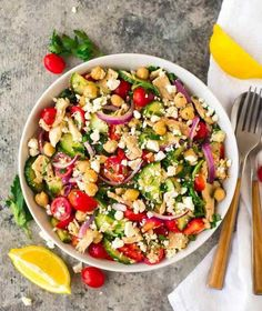 Healthy Chickpea Tuna Salad with fresh vegetables and lemon vinaigrette. A filling and delicious chickpea salad recipe! Chickpea Tuna, Greek Yogurt Chicken Salad, Chickpea Salad Recipes, Fish Salad, Chickpea Ideas, Tuna Fish Recipes, Cucumber Recipes, Healthy Salad Recipes
