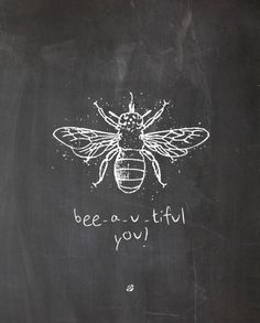 Bee decor and vintage bee hive home decorating. Shop for bee and beehive jewelry, beehive art and home decor and other handmade vintage bee goods for your little hive. Blackboard Art, Chalkboard Lettering, Chalkboard Designs, Hand Lettering, Chalkboard Drawings, Chalkboard Paint, Summer Chalkboard Art, Chalkboard Ideas, Chalk Drawings