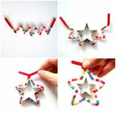 DIY Star Christmas ornaments (pipe cleaner and hama beads) by schaeresteipapier Noel Christmas, Christmas Activities, Christmas Crafts For Kids, Simple Christmas, Winter Christmas, Holiday Crafts, Christmas Decorations, Ornament Crafts, Xmas Ornaments