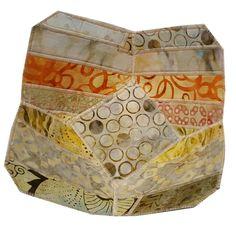 Fabric Bowl in Beige Batik Fabrics Reversible by Sieberdesigns