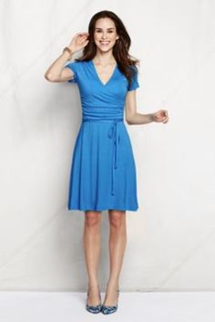 Lands End: Women's Knit Shirred Surplice Dress - SEE MORE FROM THIS LABEL
