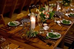 handmade wood tables from reclaimed wood - family style dining - barn weddings