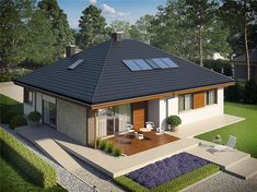 Eris II (wersja C) - projekt domu - Archipelag Small House Floor Plans, Dream House Plans, Modern House Plans, Home Design 2017, Dream Home Design, My Dream Home, Style At Home, Boutique Hotel Bedroom, One Storey House