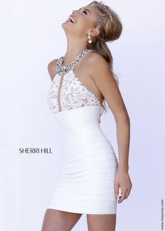 Sherri Hill 32240 - Sexy White Short Bandage and Lace Dress - RissyRoos.com