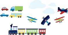 Kids+Train+with+cars+truck+bus+planes+clouds+set+by+wallinspired,+$85.00