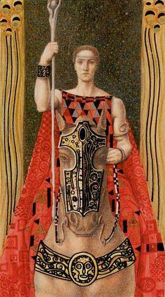Knight of Wands - Golden Tarot of Klimt by Atanas Alexander Atanssov