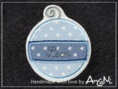 Aufnäher Weihnachtskugel mit Namen ♥ Weihnachten von AnCaNi auf DaWanda.com