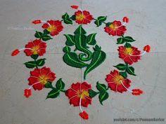 Leaf Ganesha with Hibiscus flowers rangoli Rangoli Designs Photos, Easy Rangoli Designs Videos, Easy Rangoli Designs Diwali, Rangoli Designs Latest, Latest Rangoli, Rangoli Designs Flower, Small Rangoli Design, Rangoli Patterns, Colorful Rangoli Designs
