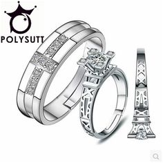 Unique Design eiffel tower rings for women retro wedding engagement ring cz Crystal Promise Rings Female Charm Band Jewelry