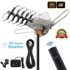 Zimtown 150Miles Outdoor TV Antenna Motorized Amplified HDTV High Gain 36dB UHF VHF - Walmart.com - Walmart.com Diy Tv Antenna, Outdoor Hdtv Antenna, Antenna Gain, Wifi Antenna, Ideal Tools, Digital Tv, Make Money From Home, Consumer Electronics, Cool Things To Buy