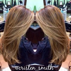 Balayage highlights with face framing pieces Www. Beautubycristen.com
