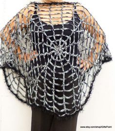 This is CROCHET PATTERN ONLY of Spider web Poncho. Halloween Spiderweb Poncho One Size looks great of all body types. Easy crochet pattern