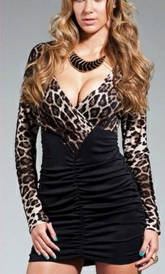 This mini dress is very trendy and sexy. A long sleeve with leopard print, v-neck and a shirred black skirt.  #leoparddress #clubweardress