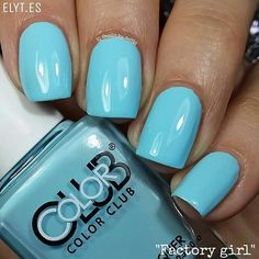 """repost via @instarepost20 from @nails_by_soffis This pastel blue colour is perfect for Spring it reminds me to the sky  It is the Color Club """"Factory Girl"""" available at  @entrelazosytelas @entrelazosytelas  (My favourite nail art store online  Use my code SOFFIS for a 15%off in your purchases at WWW.ELYT.ES). Take a look at their Instagram account  @entrelazosytelas and discover amazing discounts for your orders in your favourite Color Club polishes  - So soon manicure with this shade…"""