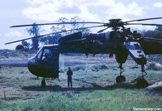 """Sikorsky CH-54 Tarhe. During the Vietnam War a lot of heavy lifting of troops, cargo, and downed aircraft was done by the Ch-47 Chinook. However, when the Chinook wasn't enough the Army would call for the CH-54 Tarhe. The Tarhe was designed for internal or external lifting of heavy bulk loads. It could even be configured to carry the 10,000 bomb known as the """"Daisycutter"""". This bomb was used to create landing zones (""""LZs"""") in the dense jungle."""