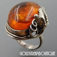 GORGEOUS STERLING SILVER WARM HONEY BALTIC AMBER WIRED DESIGN LEAVES RING SIZE 8