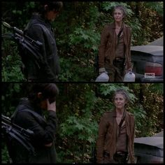 Daryl asking Carol 'what if I did not follow you out here, would you just slip away ?' ... just before the car with the cross in the window drove by.