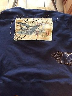 Polo Ralph Lauren blue eagle studded hoodie size L pwing stadium teddy bear