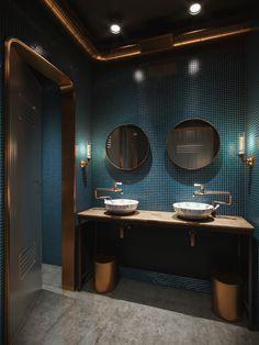 Cocktail Bar Restroom Bristol Interior design and rendering: Visual AXION. Restaurant Bad, Restaurant Bathroom, Washroom Design, Bathroom Interior Design, Bad Inspiration, Bathroom Inspiration, Cocktail Movie, Cocktail Sauce, Cocktail Shaker