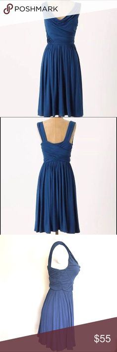 """❣️ANTHROPOLOGIE DELETTA RUCHED/DRAPED JERSEY DRESS ❣️ANTHROPOLOGIE DELETTA PEZZA dress. Ruched & draped asymmetric jersey, scooped neckline, A-line silhouette with slight gathering at waistline to add fullness to the skirt. Shoulder: 31"""" Bust: 28"""" Waist: 23"""" (with elastic) Length: 31"""" EUC Size S Color closest to first 2 photos- a deep teal blue. Perfect for travel easy to dress down and up. Incredibly versatile!❣️ Anthropologie Dresses"""