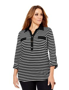 Striped polo tunic.