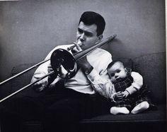 Dad, Kid, Trombone, by Harvey Shaman