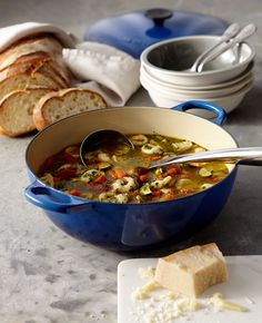 Pesto adds herbaceous notes to the simple soup. Round out the meal with a loaf of crusty Italian or whole-grain bread.