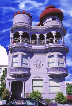 architecture, houses, homes, purple - Victorian House With Moorish Top And Clouds, San Francisco By Mitchell Funk Victorian Architecture, Beautiful Architecture, Beautiful Buildings, Architecture Design, Beautiful Homes, Pavilion Architecture, Sustainable Architecture, Residential Architecture, Contemporary Architecture