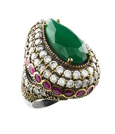 Turkish Ottoman Hurrem Sultan Roxelana Large emerald ruby ring