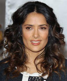 Salma Hayek Long Curly Hairstyle - Black (Mocha)