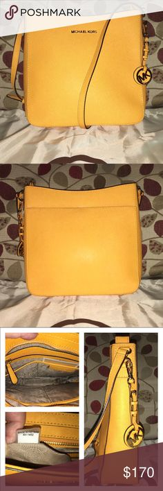 """New Michael Kors Saffiano Crossbody/Messenger New Muchael Kors in Saffiano Yellow and Gold Hardware! It's not the """"Sunflower"""" it's a deeper yellow almost orange! The bag is sleek and spacious, Don't be confused by """"Crossbody"""" you could wear it on your shoulder or side, it's Logo lined, key fob, 1 zip, multiple slip pockets, adjustable strap drop is 22"""" bag measures 10 X 10 X 3 🚫no trades price firm🚫 KORS Michael Kors Bags Crossbody Bags"""