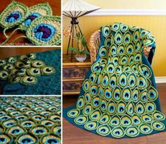 crochet Peacock Feather Applique blanket | free #crochet #pattern and #tutorial