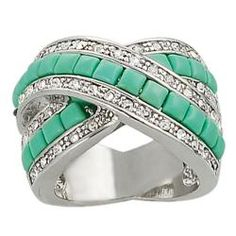 @Overstock - Created turquoise and cubic zirconia ringSilvertone brass jewelry Click here for ring sizing guidehttp://www.overstock.com/Jewelry-Watches/Journee-Collection-Silvertone-CZ-and-Created-Turquoise-Criss-cross-Ring/6340818/product.html?CID=214117 $39.99