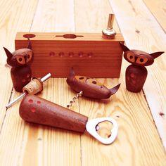 Vintage scandinavian modern teak owl bar set, Denmark.